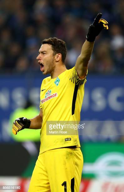 Jiri Pavlenka goalkeeper of Bremen gestures during the Bundesliga match between Hamburger SV and SV Werder Bremen at Volksparkstadion on September 30...