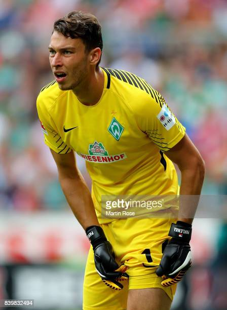 Jiri Pavlenka goalkeeper of Bremen looks on during the Bundesliga match between SV Werder Bremen and FC Bayern Muenchen at Weserstadion on August 26...