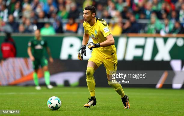 Jiri Pavlenka goalkeeper of Bremen runs with the ball during the Bundesliga match between SV Werder Bremen and FC Schalke 04 at Weserstadion on...