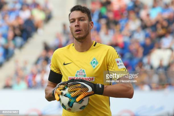Jiri Pavlenka keeper of Bremen runs with the ball during the Bundesliga match between TSG 1899 Hoffenheim and SV Werder Bremen at Wirsol...
