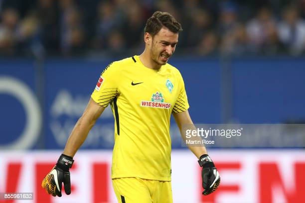 Jiri Pavlenka of Bremen looks dejected after the Bundesliga match between Hamburger SV and SV Werder Bremen at Volksparkstadion on September 30 2017...
