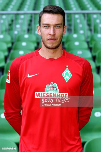Jiri Pavlenka of Werder Bremen poses during the team presentation at Weser Stadium on July 19 2017 in Bremen Germany