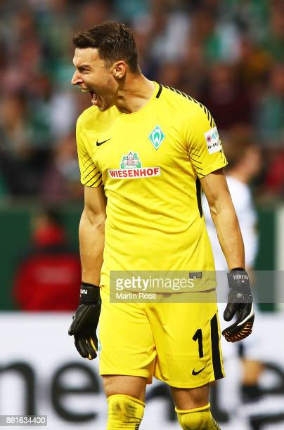 Jiri Pavlenka of Werder Bremen reacts after the first goal is scored past him during the Bundesliga match between SV Werder Bremen and Borussia...
