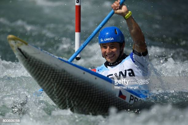 Jiri Prskavec of The Czech Republic competes during the Kayak Single Men's Final of the ICF Canoe Slalom World Cup on June 24 2017 in Augsburg Germany