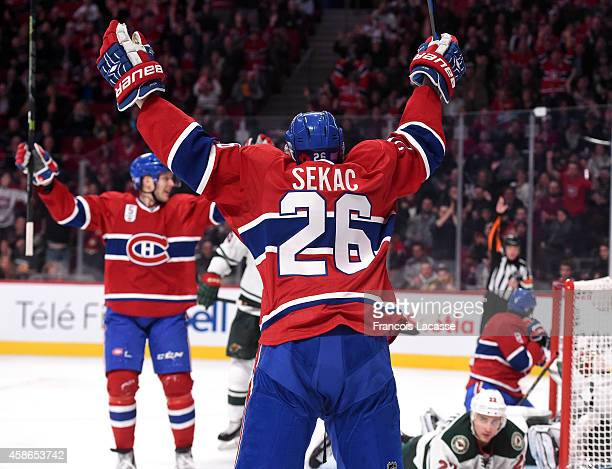 Jiri Sekac of the Montreal Canadiens celebrates after scoring a goal against the Minnesota Wild in the NHL game at the Bell Centre on November 8 2014...