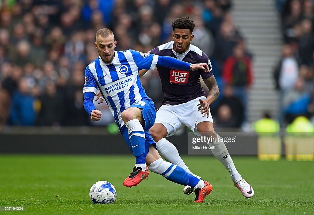 Jiri Skalak of Brighton and Hove Albion is closed down by Cyrus Christie of Derby County during the Sky Bet Championship match between Brighton and Hove Albion and Derby County at the Amex Stadium on May 2, 2016 in Brighton, United Kingdom.