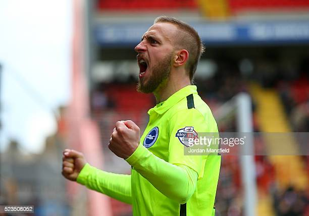 Jiri Skalak of Brighton Hove Albion celebrates scoring his sides second goal during the Sky Bet Championship match between Charlton Athletic and...
