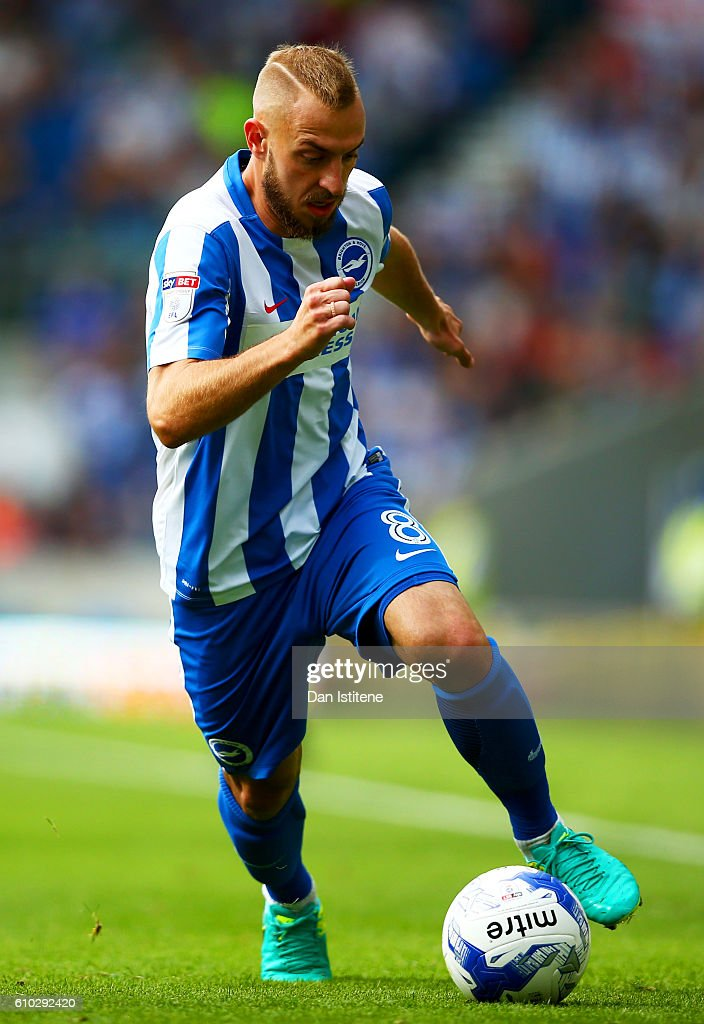 Jiri Skalak of Brighton & Hove Albion runs with the ball during the Sky Bet Championship match between Brighton & Hove Albion and Barnsley at Amex Stadium on September 24, 2016 in Brighton, England.