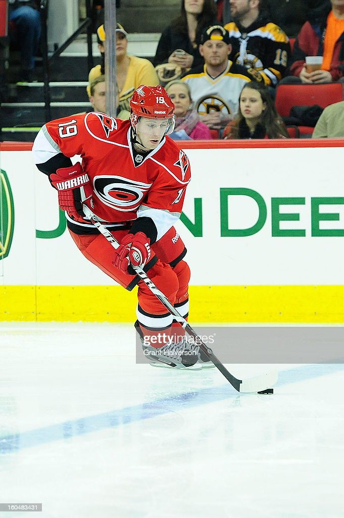 Jiri Tlusty #19 of the Carolina Hurricanes against the Boston Bruins during play at PNC Arena on January 28, 2013 in Raleigh, North Carolina. The Bruins defeated the Hurricanes 5-3.