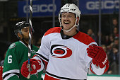 Jiri Tlusty of the Carolina Hurricanes celebrates a goal against the Dallas Stars in the second period at American Airlines Center on November 18...