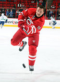 Jiri Tlusty of the Carolina Hurricanes warms up prior to an NHL game against the Vancouver Canucks at PNC Arena on January 16 2015 in Raleigh North...