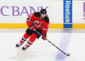 Jiri Tlusty of the New Jersey Devils plays the puck against the Columbus Blue Jackets during the game at the Prudential Center on October 27 2015 in...