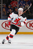 Jiri Tlusty of the New Jersey Devils skates against the New York Rangers at Madison Square Garden on October 18 2015 in New York City The New Jersey...