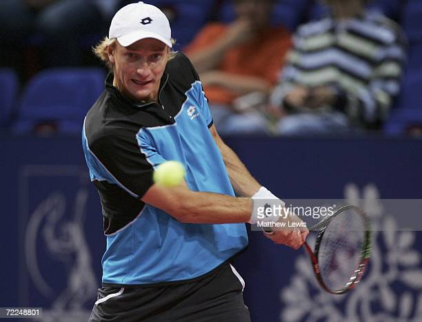 Jiri Vanek of Czech Republic in action against Mardy Fish of America during the ATP Davidoff Swiss Indoor Basel at St Jakobshalle on October 24 2006...