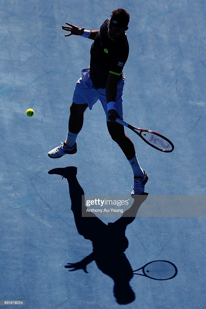 Jiri Vesely of Czech Republic plays a forehand in his match against Marcos Baghdatis of Cyprus on day 11 of the ASB Classic on January 12, 2017 in Auckland, New Zealand.