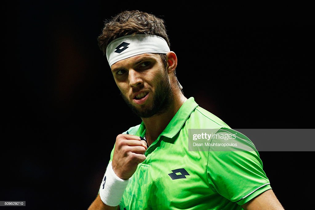 <a gi-track='captionPersonalityLinkClicked' href=/galleries/search?phrase=Jiri+Vesely&family=editorial&specificpeople=6707242 ng-click='$event.stopPropagation()'>Jiri Vesely</a> of the Czech Republic celebrates winning a point against Roberto Bautista Agut of Spain during day 4 of the ABN AMRO World Tennis Tournament held at Ahoy Rotterdam on February 11, 2016 in Rotterdam, Netherlands.