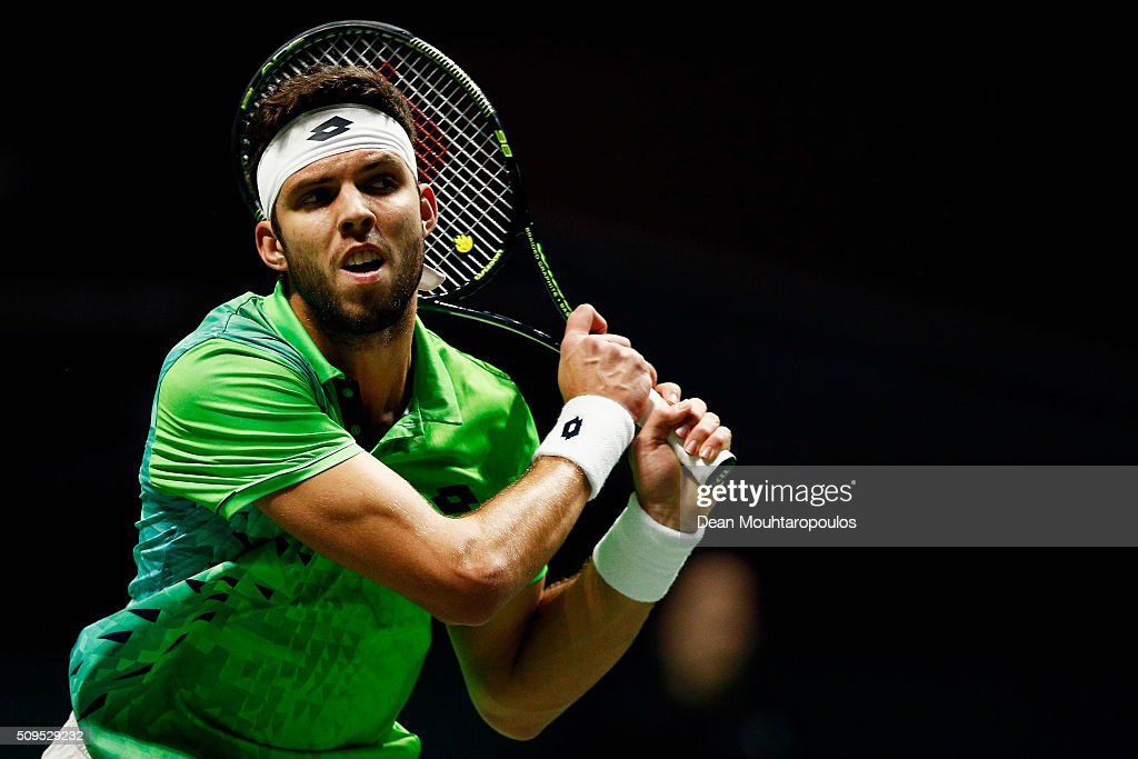 <a gi-track='captionPersonalityLinkClicked' href=/galleries/search?phrase=Jiri+Vesely&family=editorial&specificpeople=6707242 ng-click='$event.stopPropagation()'>Jiri Vesely</a> of the Czech Republic in action against Roberto Bautista Agut of Spain during day 4 of the ABN AMRO World Tennis Tournament held at Ahoy Rotterdam on February 11, 2016 in Rotterdam, Netherlands.