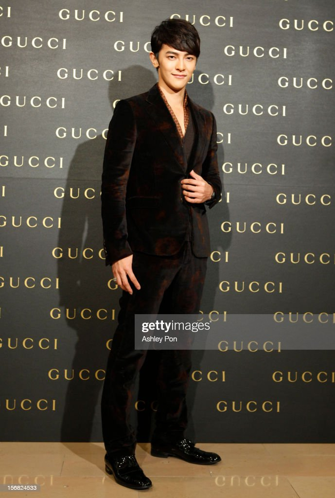 Jiro Wang poses for a photograph at the Gucci Flagship store opening at Taipei101 on November 22, 2012 in Taipei, Taiwan.