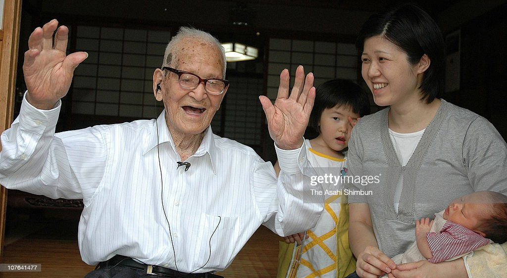 Jiroemon Kimura celebrates being the oldest man in Japan at the age of 112 at his home on June 20, 2009 in Kyotango, Kyoto, Japan.