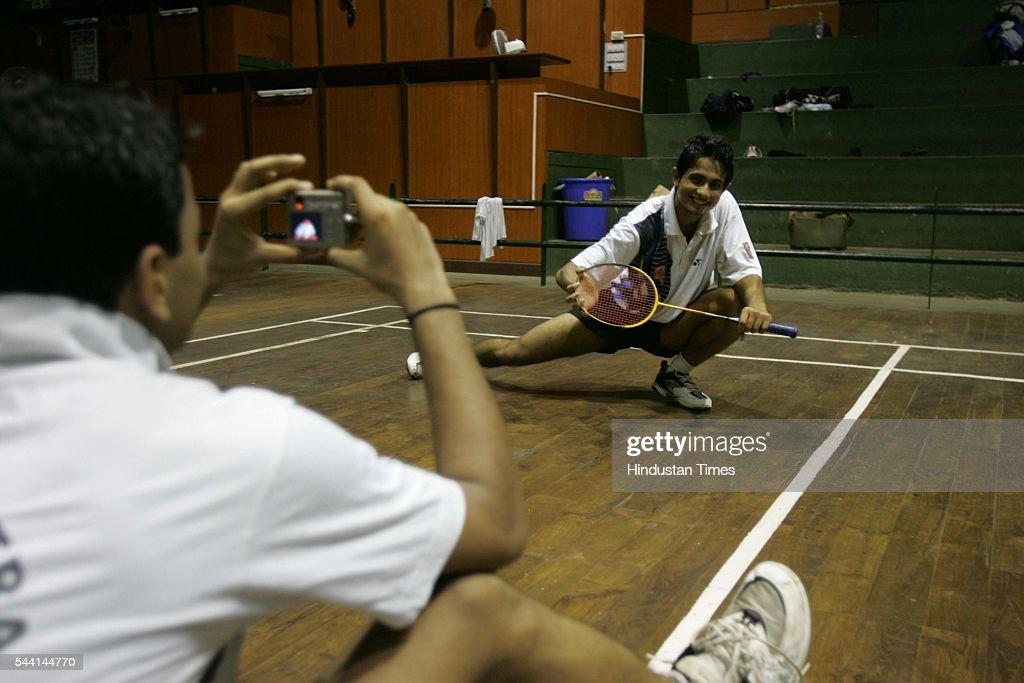 Jishnu Sanyal playing Badminton.