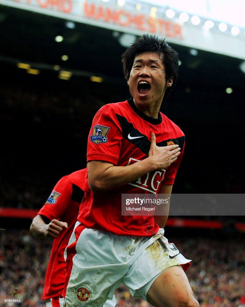 Ji-Sung Park of Manchester United celebrates after scoring the winning goal during the Barclays Premier League match between Manchester United and Liverpool at Old Trafford on March 21, 2010 in Manchester, England.