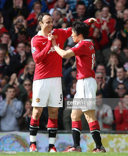 JiSung Park of Manchester United celebrates scoring their first goal during the Barclays Premier League match between Manchester United and Blackpool...