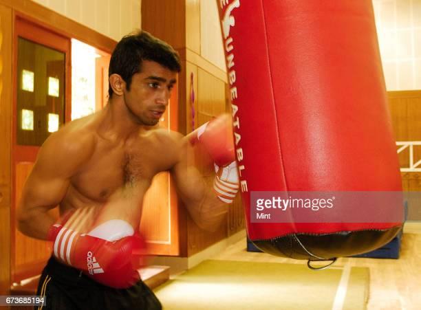 Jitendra kumar Indian boxer photographed during training at NIS Patiala