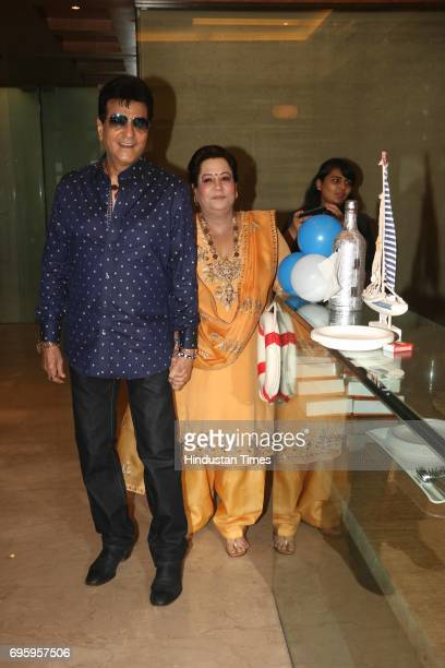 Jitendra with his wife Shobha Kapoor attending the first birthday party of Tusshar Kapoor's son Laksshya on June 1 2017 on Mumbai India