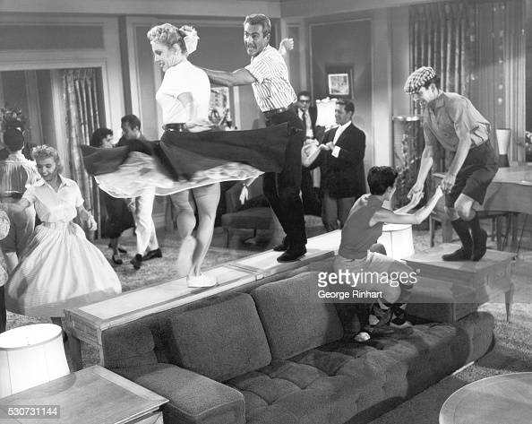 Jitterbug dancers are shown doing routines in scenes from 'Don't Knock the Rock' the 1956 Columbia Pictures musical starring Bill Haley and His...