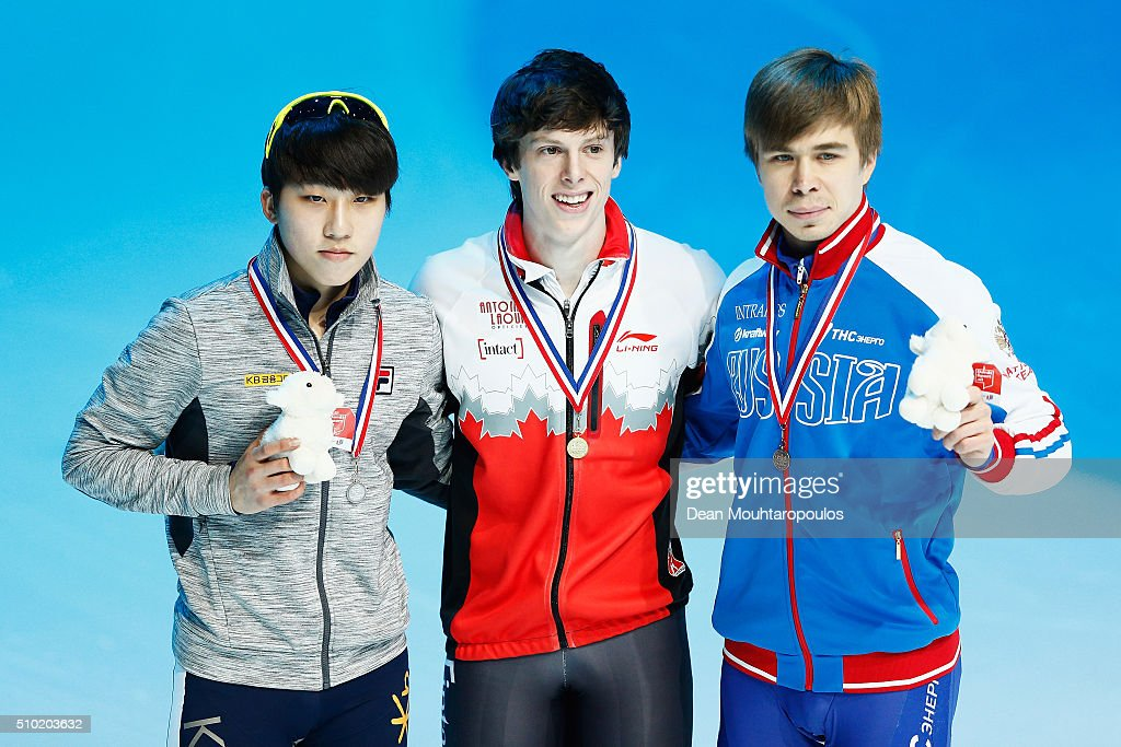Jiwon Park of South Korea (Silver medal), <a gi-track='captionPersonalityLinkClicked' href=/galleries/search?phrase=Charle+Cournoyer&family=editorial&specificpeople=11622477 ng-click='$event.stopPropagation()'>Charle Cournoyer</a> of Canada (Gold medal) and <a gi-track='captionPersonalityLinkClicked' href=/galleries/search?phrase=Semen+Elistratov&family=editorial&specificpeople=8823657 ng-click='$event.stopPropagation()'>Semen Elistratov</a> of Russia (Bronze medal) pose after the 1000m Mens Final during ISU Short Track Speed Skating World Cup held at The Sportboulevard on February 14, 2016 in Dordrecht, Netherlands.