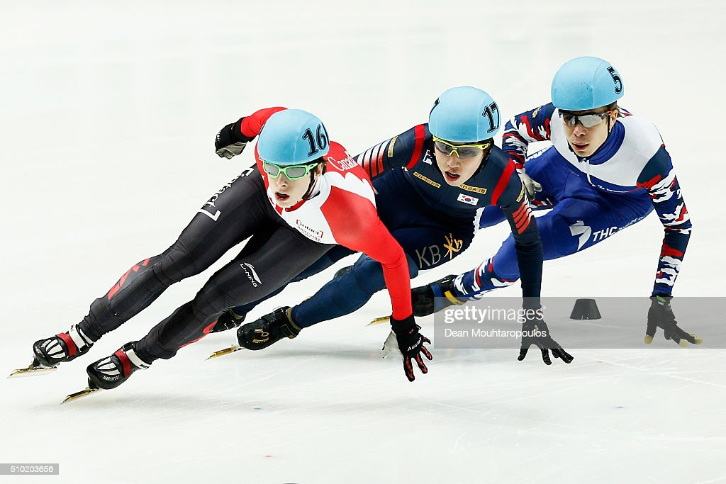 Jiwon Park of South Korea ((C) Silver medal), <a gi-track='captionPersonalityLinkClicked' href=/galleries/search?phrase=Charle+Cournoyer&family=editorial&specificpeople=11622477 ng-click='$event.stopPropagation()'>Charle Cournoyer</a> of Canada ((L) Gold medal) and <a gi-track='captionPersonalityLinkClicked' href=/galleries/search?phrase=Semen+Elistratov&family=editorial&specificpeople=8823657 ng-click='$event.stopPropagation()'>Semen Elistratov</a> of Russia ((R) Bronze medal) cross the finish line in the 1000m Mens Final during ISU Short Track Speed Skating World Cup held at The Sportboulevard on February 14, 2016 in Dordrecht, Netherlands.