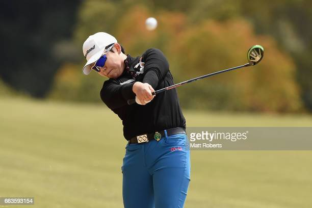 Jiyai Shin of Korea hits her second shot on the fifth hole during the final round of the YAMAHA Ladies Open Katsuragi at the Katsuragi Golf Club...