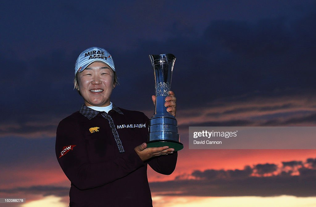 Jiyai Shin of Korea poses with the trophy following her victory during the final round of the Ricoh Women's British Open at Royal Liverpool Golf Club on September 16, 2012 in Hoylake, England.
