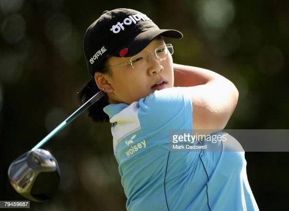 JiYai Shin of Korea tees off on the fourth hole during round two of the Women's Australian Golf Open 2008 at Kingston Heath Golf Club on February 1...