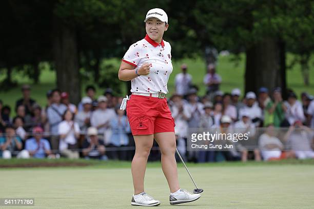 Jiyai Shin of South Korea celebrates after a winning putt on the 18th green during the final round of the Nichirei Ladies at the Sodegaura Country...