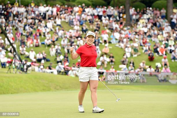 Jiyai Shin of South Korea celebrates after winning the HokennoMadoguchi Ladies at the Fukuoka Country Club Ishino Course on May 15 2016 in Fukuoka...