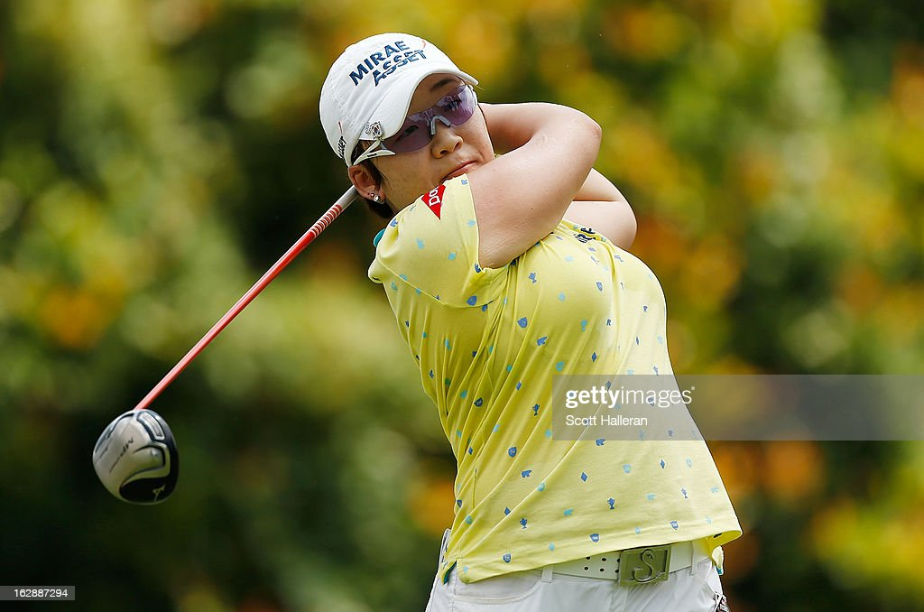 Jiyai Shin of South Korea hits a shot during the second round of the HSBC Women's Champions at the Sentosa Golf Club on March 1, 2013 in Singapore, Singapore.