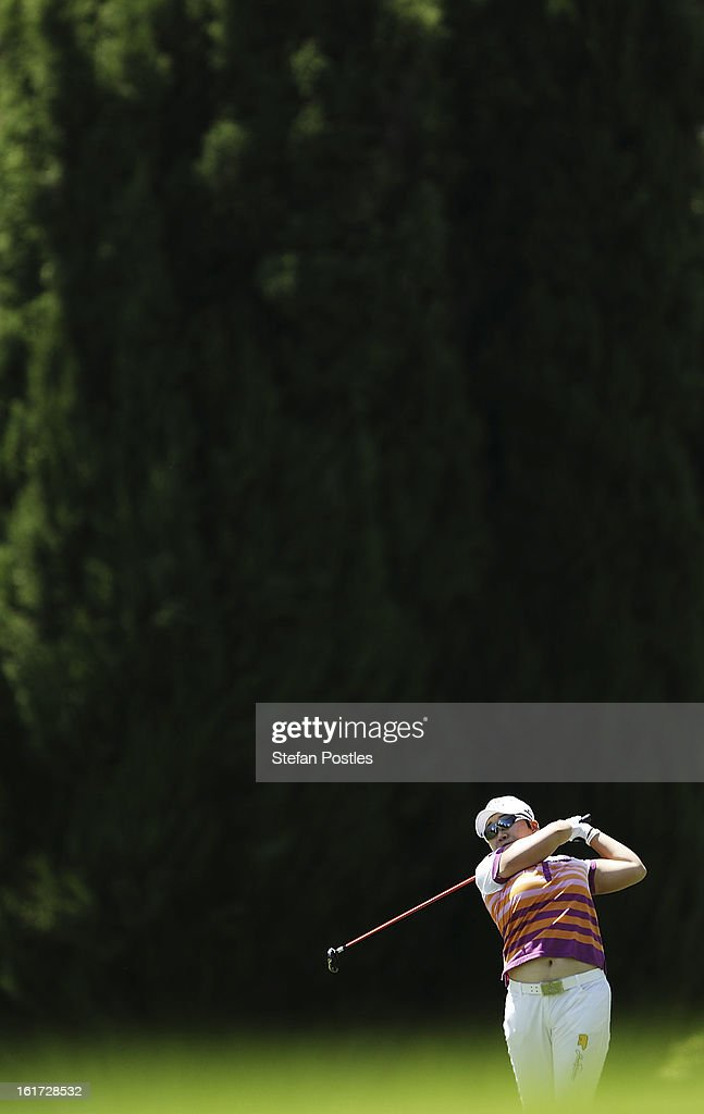 Jiyai Shin of South Korea hits down the fairway during day two of the ISPS Handa Australian Open at Royal Canberra Golf Club on February 15, 2013 in Canberra, Australia.