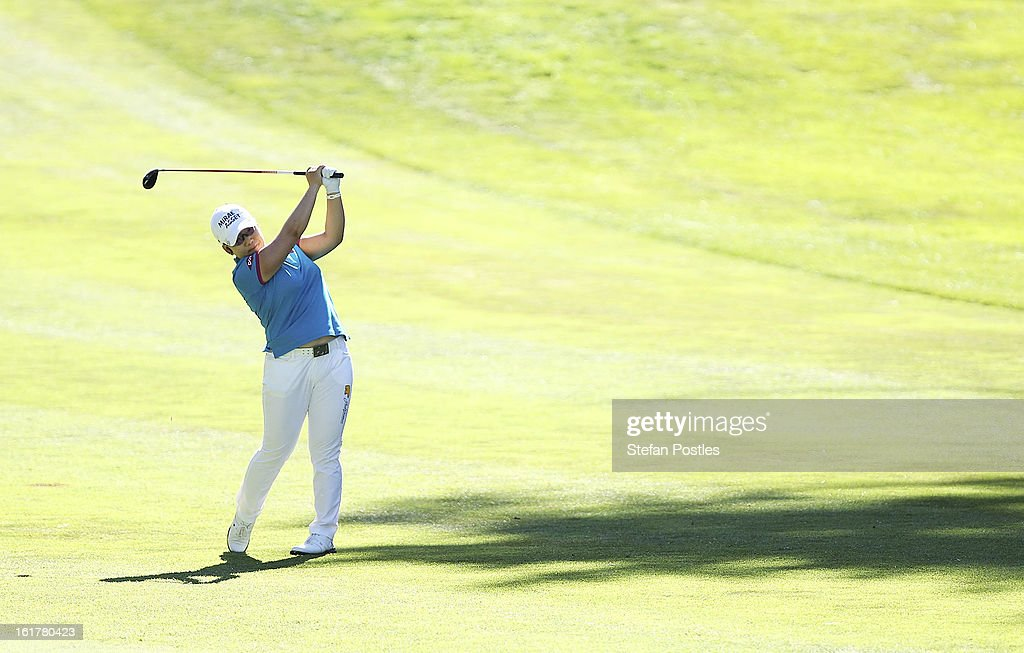 Jiyai Shin of South Korea hits down the fairway of the 15th hole during day three of the ISPS Handa Australian Open at Royal Canberra Golf Club on February 16, 2013 in Canberra, Australia.