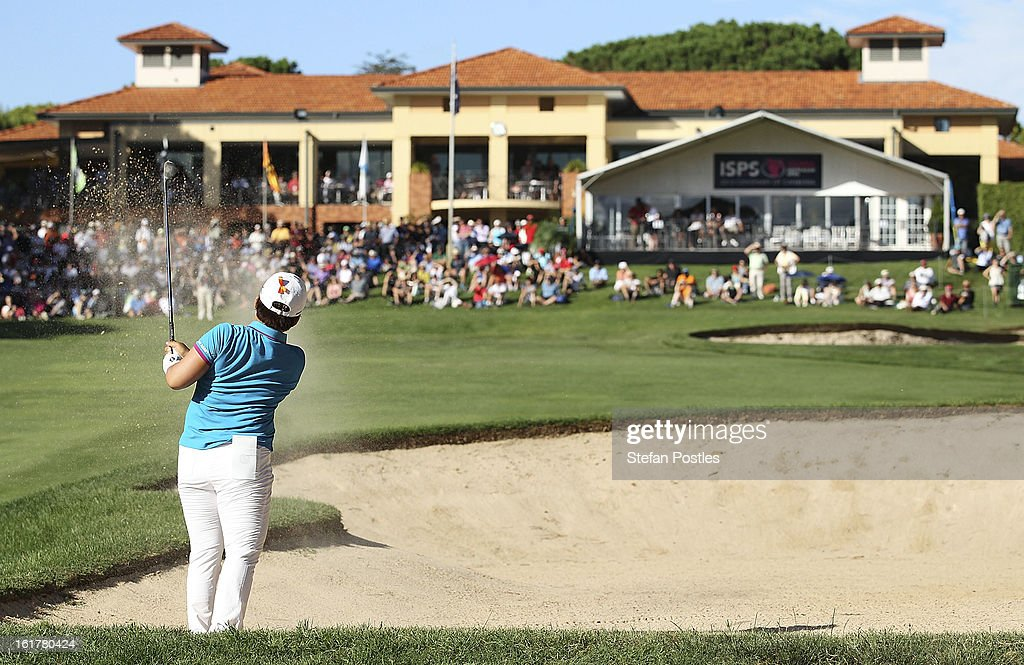 Jiyai Shin of South Korea hits out of a bunker on the 18th hole during day three of the ISPS Handa Australian Open at Royal Canberra Golf Club on February 16, 2013 in Canberra, Australia.