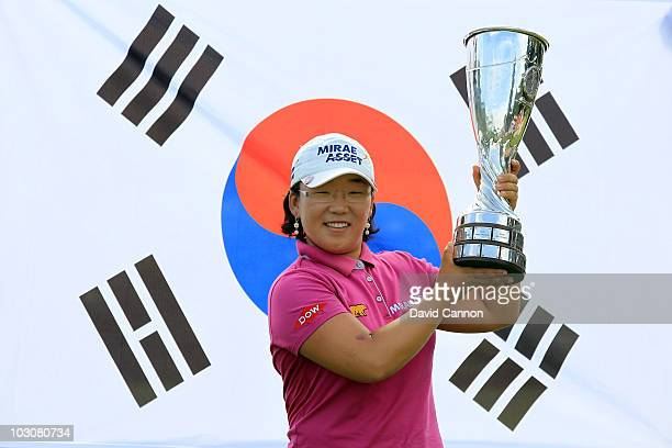 Jiyai Shin of South Korea holds the trophy after the final round of the 2010 Evian Masters on July 25 2010 in Evian les Bains France