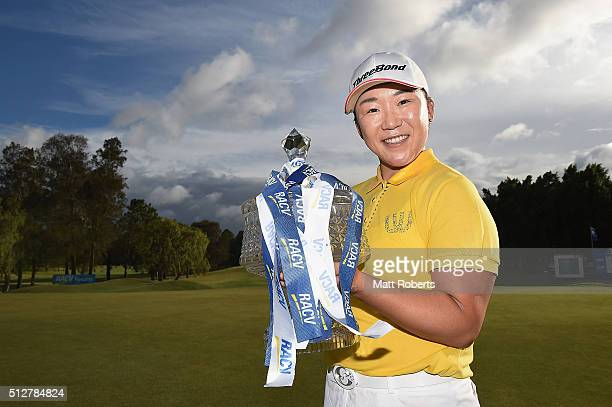 Jiyai Shin of South Korea holds the winners trophy after day four of the RACV Ladies Masters at Royal Pines Resort on February 28 2016 on the Gold...