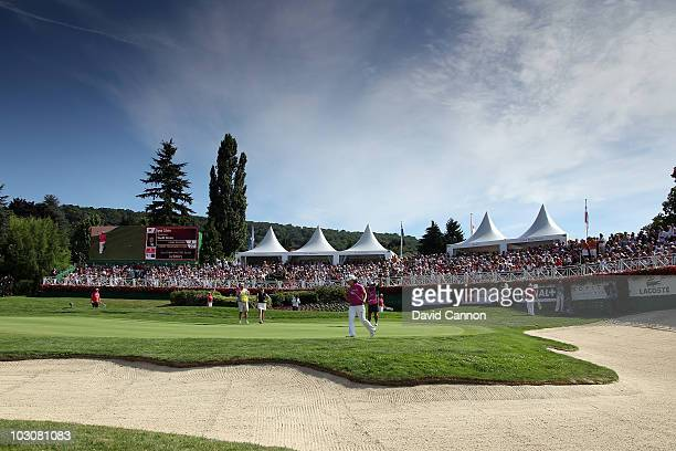 Jiyai Shin of South Korea holing the winning birdie putt at the 18th hole during the final round of the 2010 Evian Masters on July 25 2010 in Evian...