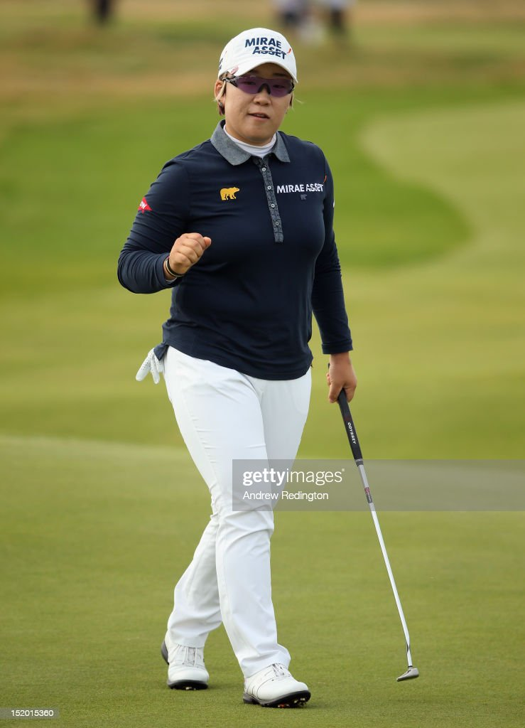 Jiyai Shin of South Korea in action during the second round of the Ricoh Women's British Open at Royal Liverpool Golf Club on September 15, 2012 in Hoylake, England.