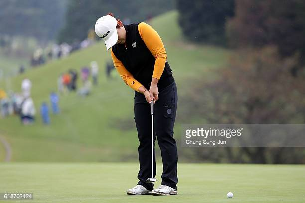 Jiyai Shin of South Korea plays a putt on the 18th green during the first round of the Higuchi Hisako Ponta Ladies at the Musashigaoka Golf Course on...