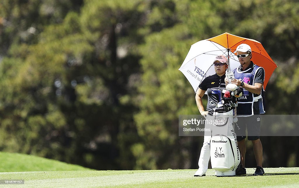 Jiyai Shin of South Korea watches the group ahead of them on the 5th hole during day four of the ISPS Handa Australian Open at Royal Canberra Golf Club on February 17, 2013 in Canberra, Australia.