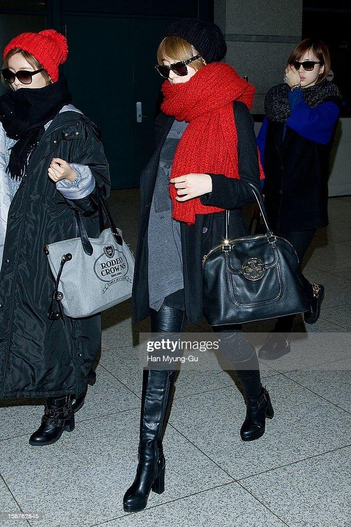 Ji-Yeon aka. Jiyeon of South Korean girl group T-ara is seen at Incheon International Airport on December 28, 2012 in Incheon, South Korea.