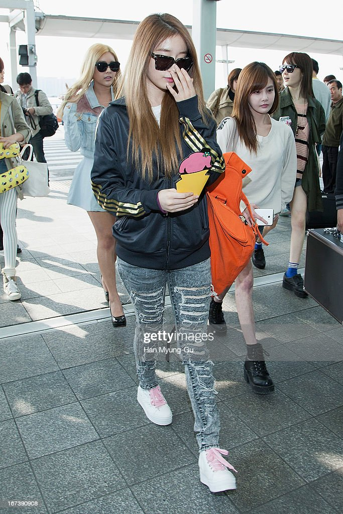 Jiyeon of South Korean girl group T-ara is seen on departure at Incheon International Airport on April 24, 2013 in Incheon, South Korea.