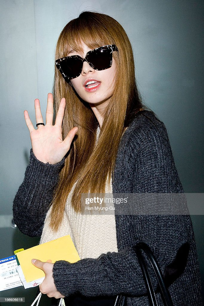 Ji-Yeon (Jiyeon) of South Korean girl group T-ara is sighted at Incheon International Airport on November 25, 2012 in Incheon, South Korea.