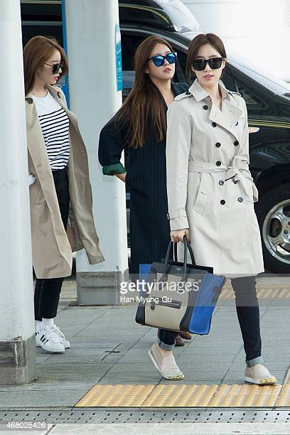 Jiyeon Soyeon and Eunjung of South Korean girl group Tara are seen on departure at Incheon International Airport on March 28 2015 in Incheon South...